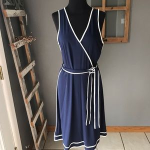 Ann Taylor NWT Navy Knit Sleeveless Belted Dress S